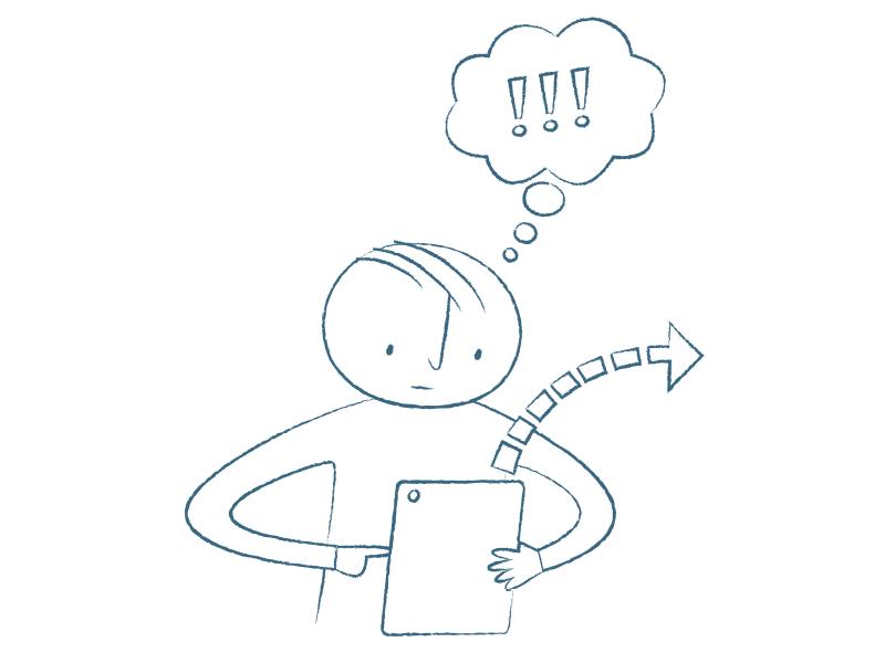 En tecknad figur skriver på en surfplatta. En pil går från surfplattan ut mot höger. Figuren har en tankebubbla över sig med tre utropstecken i.