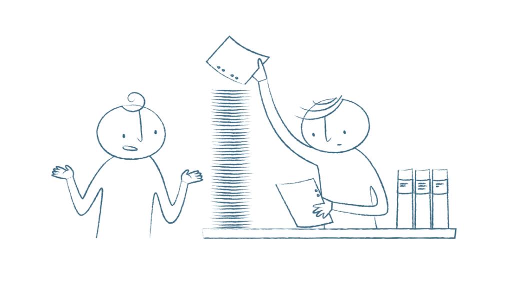 En tecknad illustration där en figur pratar med en annan figur som sitter bakom ett skrivbord. Figuren bakom skrivbordet läser ett dokument och staplar papper i en stor hög.