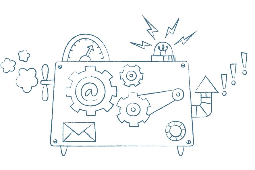 En tecknad maskin med propeller, mätare, kugghjul, ett snabel-a, en skorsten och en saftblandare. Ur maskinen kommer det utropstecken, rök och blixtar.