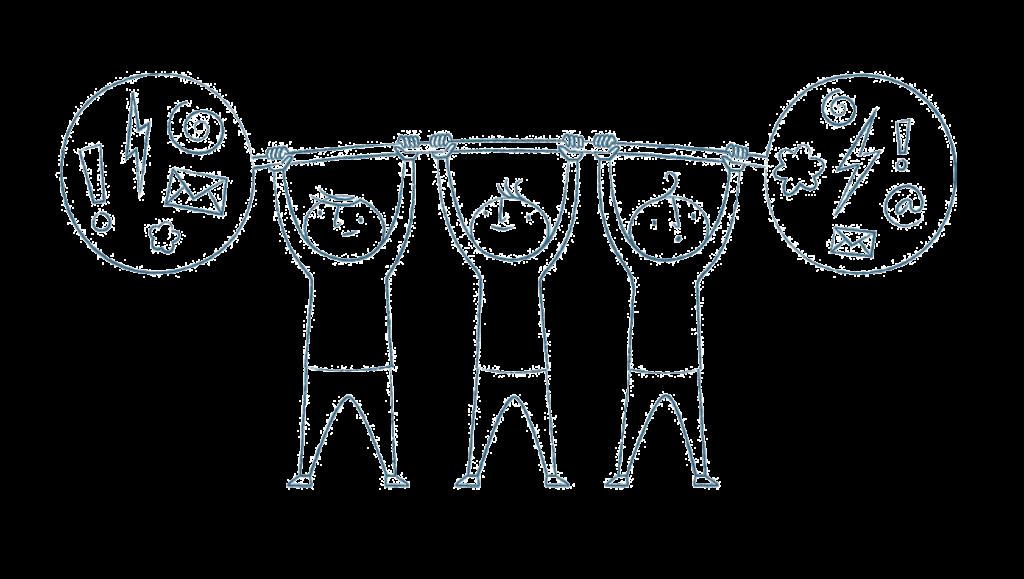 Tre tecknade figurer lyfter upp en viktstång tillsammans. I vikterna finns utropstecken, kuvert, stjärnor och blixtar.