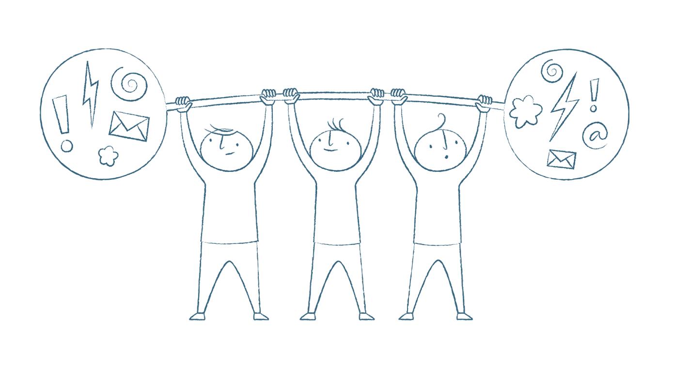 Tre tecknade figurer lyfter en skivstång över huvudet. Skivstångens vikter är fyllda med utropstecken, blixtar och kuvert.